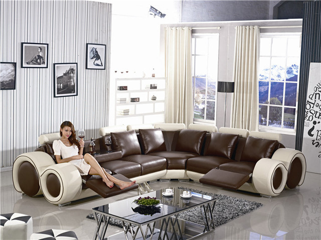 Recliner Sofa New Design Large SIze L Shaped Sofa Set Italian Leather Corner Sofa with Recliner Chair Small Table Sofa Furniture