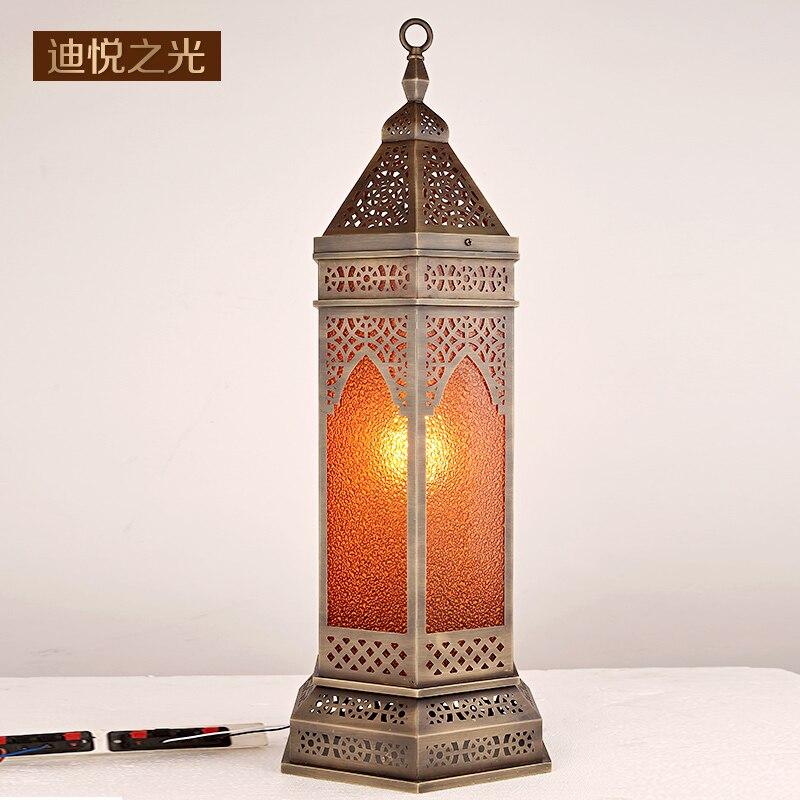 Аравия стиль Медь Ретро Светодиодные Торшер старинные полые резные Европейский пол освещение для гостиной отель Ресторан