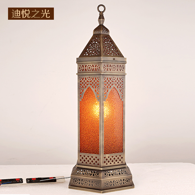 Arab style copper retro led floor lamp vintage hollow carved lanterns floor light for living room hotel restaurant lighting