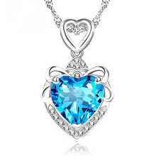 RUOYE New 2017 Fashion Luxury Purple Blue Crystal Necklace Pendants Women Love Heart Design Girl Gift Silver Jewelry