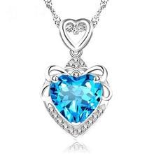 RUOYE New 2017 Fashion Luxury Purple Blue Crystal Necklace Pendants Women Love Heart Design Girl Gift Silver Jewelry