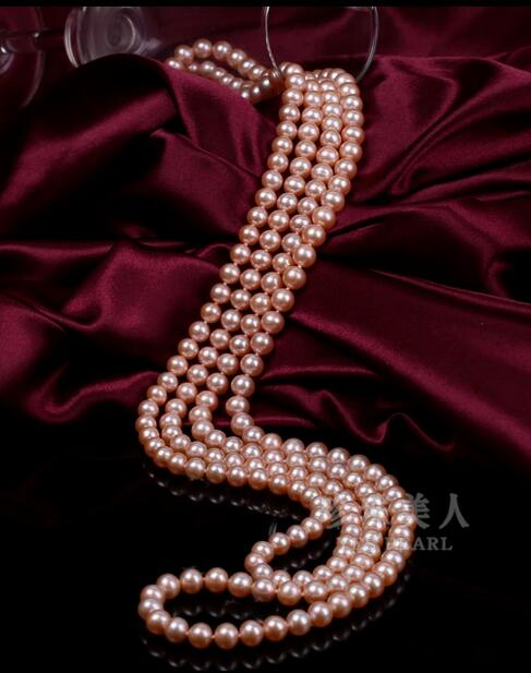 Charming 8-9mm natural pink pearl necklace 48 Charming 8-9mm natural pink pearl necklace 48