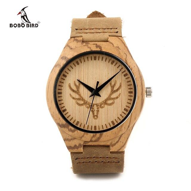 BOBO BIRD Luxury Brand Men Watches Genuine Leather Strap Watch Wood Male Wristwatch Relogio Masculino F28