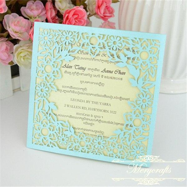 New cute light blue small flowers wedding invitations cards laser new cute light blue small flowers wedding invitations cards laser cut invitation card filmwisefo