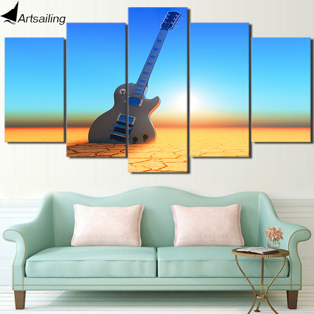 HD Printed 5 Piece Canvas Art Guitar Painting Vintage Sunset Beach ...