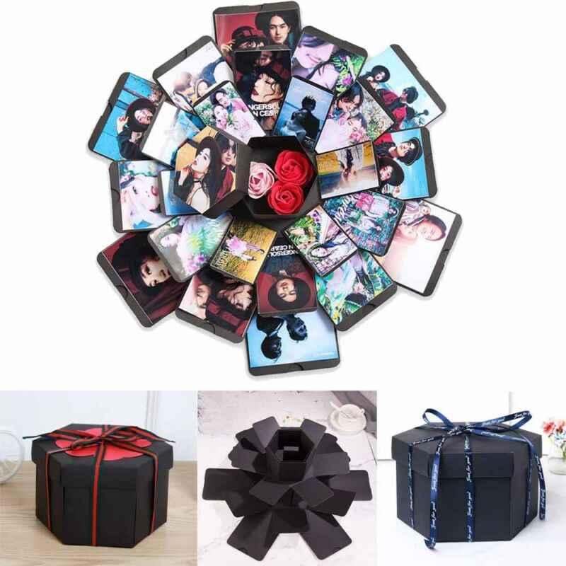 Caja de álbum de foto creativa, sorpresa de explosión, amor, álbum de recortes, regalo para aniversario, San Valentín, cumpleaños, boda, caja de álbum DIY