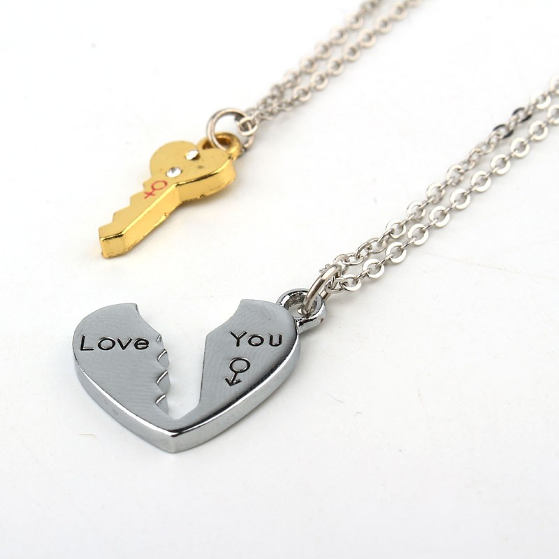 2Pcs/set Love Key Heart Pendant Necklaces for Womens Men Lovers' Couple Jewelry Broken Heart Necklace Valentine Gift N1362