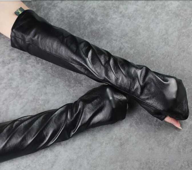 Female Fashion Long Sheepskin Gloves Half Finger PU Arm Warmers Winter Gloves Korean Lengthened