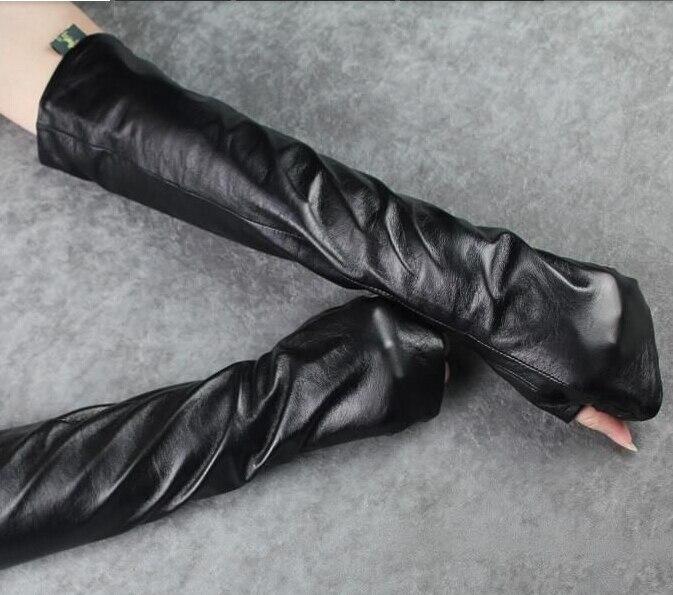Warnen Weibliche Mode Lange Schaffell Handschuhe Half Finger Pu Armlinge Winterhandschuhe Koreanischen Verlängert Armstulpen Bekleidung Zubehör