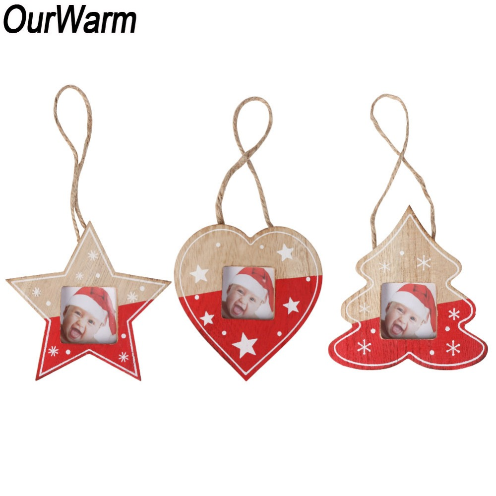OurWarm 3pcs Wood Photo Frame Christmas Ornaments New Year ...