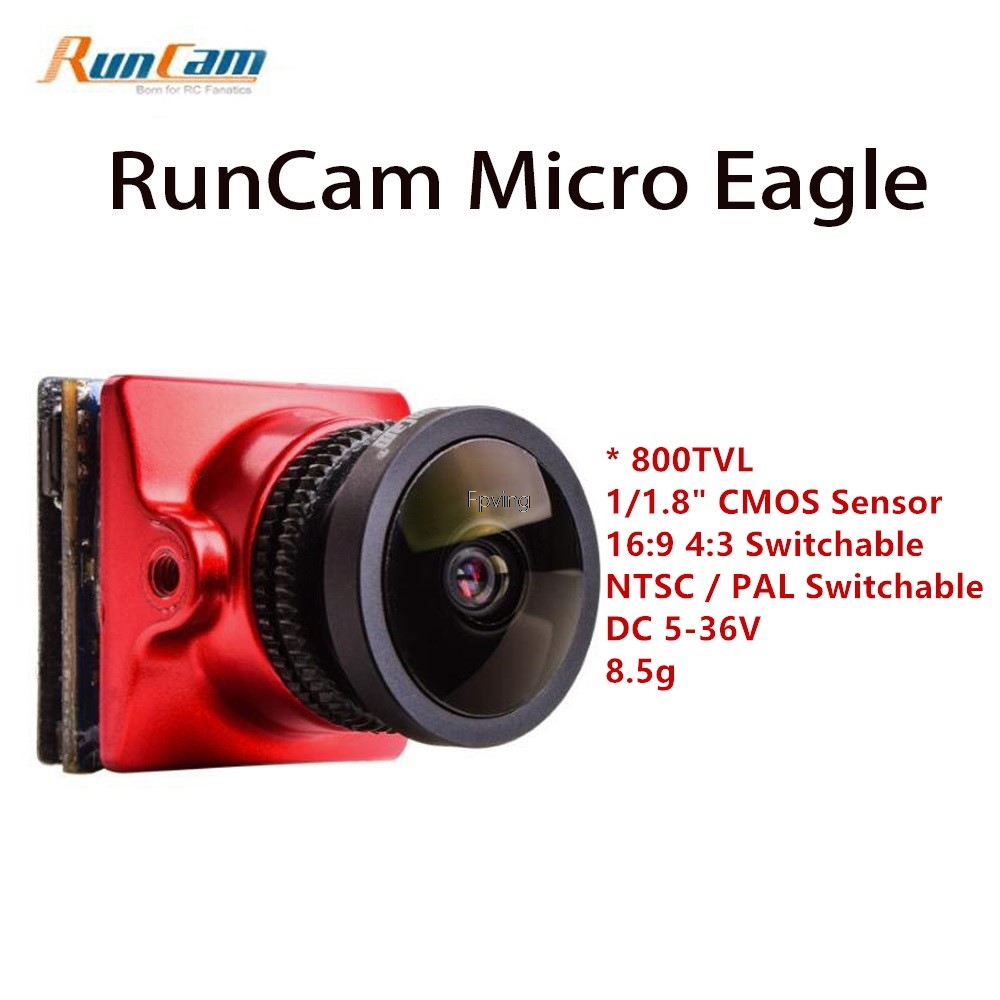 2018 New RunCam 800TVL Micro Eagle FPV Camera CMOS Sensor 16:9 / 4:3 NTSC / PAL Switchable for WDR FPV Quadcopter Racing Drone runcam eagle 800tvl dc 5 17v global wdr 16 9 cmos fpv racing drone camera pal ntsc switchable