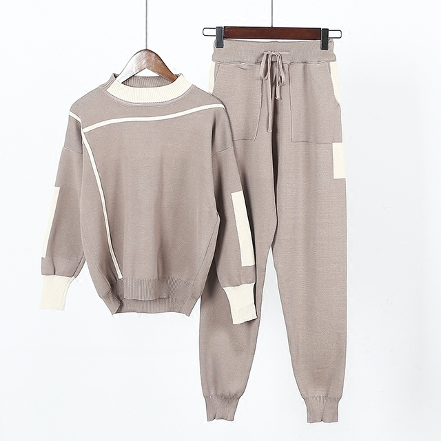 Amolapha Women Knitted Sweaters Pants 2PCS Track Suits Woman Casual Knitted  Trousers+Jumper Tops Clothing
