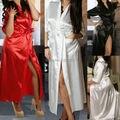 Long Black Sexy SILK Kimono Dressing Gown Bath Robe Babydoll  Nightdress
