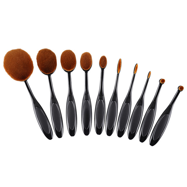 Toothbrush Oval Shape Makeup Brush (10 Pcs)