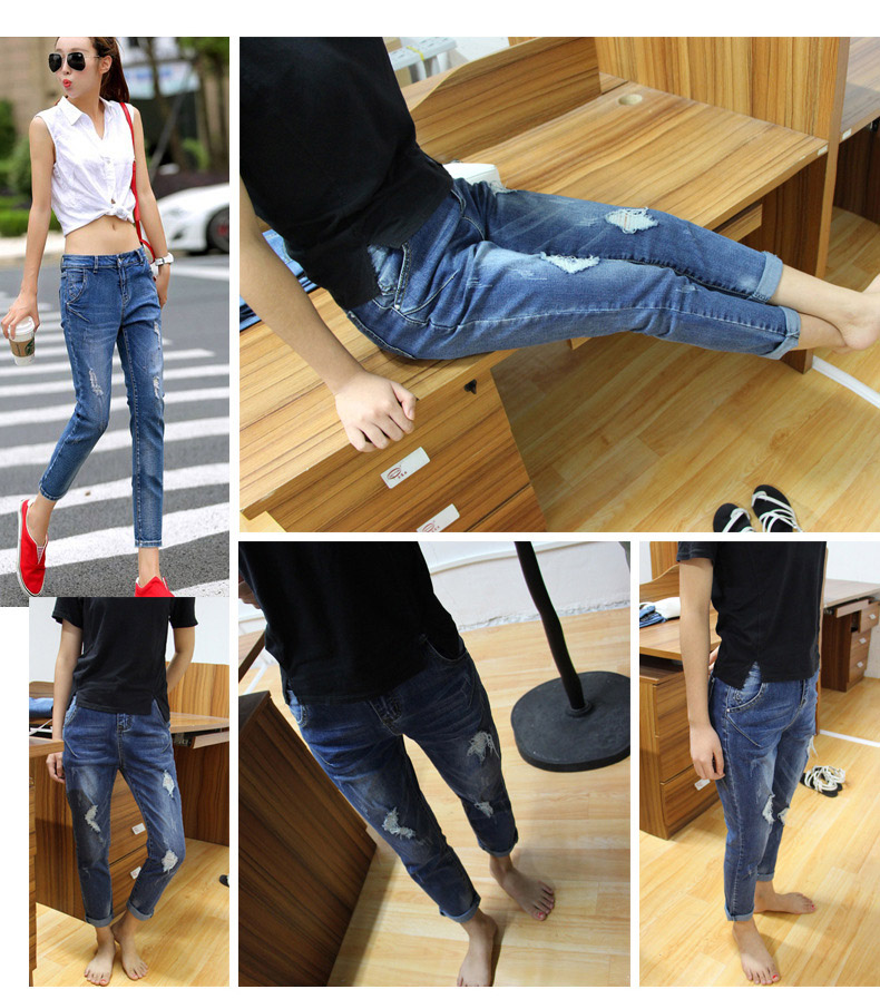 New fashion ripped jeans for women korean high waist boyfriend jeans for women blue straight plus size jeans