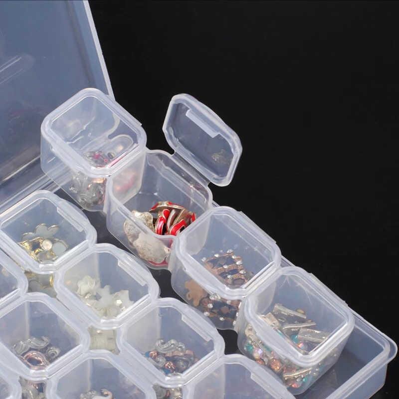 28 شبكة الماس اللوحة التبعي حالة واضحة البلاستيك الخرز عرض صندوق تخزين ل الماس التطريز عبر الابره أدوات FC8