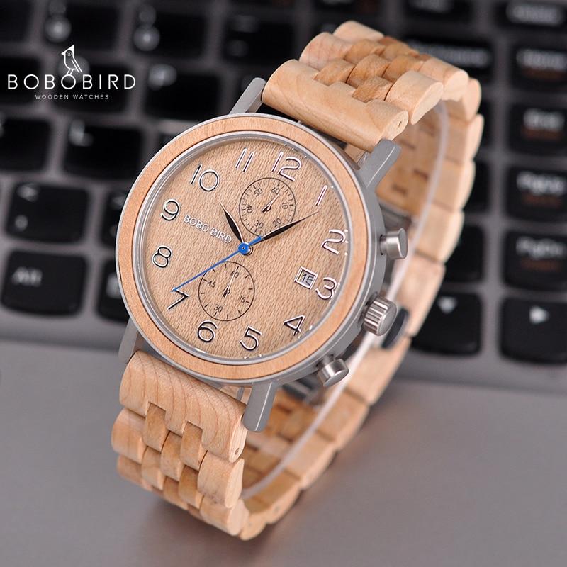 Relogio masculino BOBO oiseau Top marque hommes montre Quartz montres chronographe Date montre meilleur cadeau en bois boîte V-S08