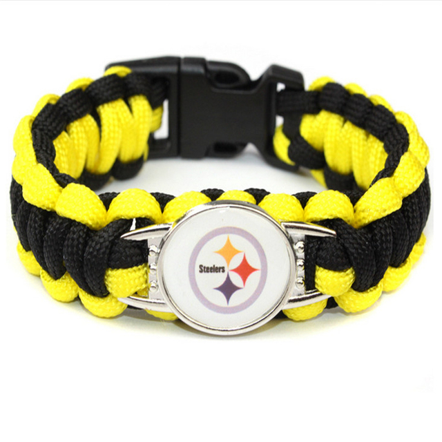 Free Shipping 10pcs Paracord Survival Bracelet Usa Football Pittsburgh Steelers Bracelets Bangle Hand Made