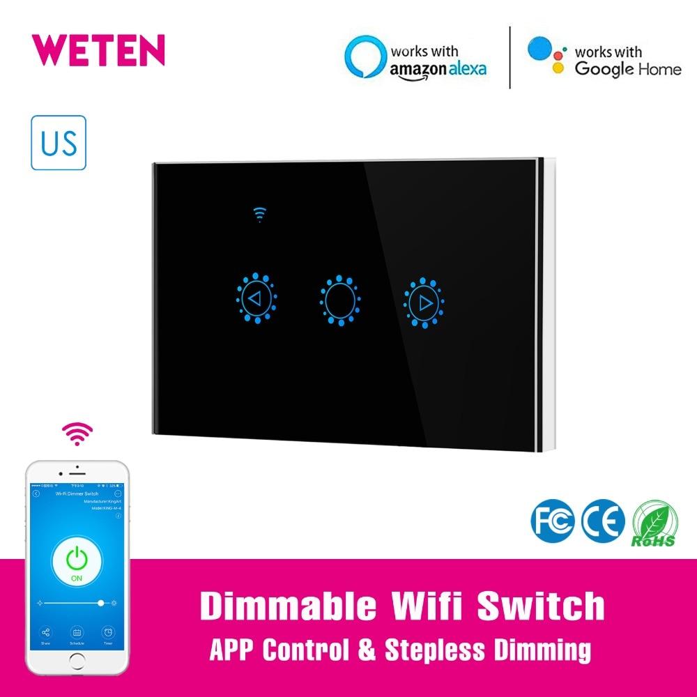 WIFI Smart Touch Interrupteur Tactile Interrupteur T/él/écommande Compatible avec Google Assistant Noir