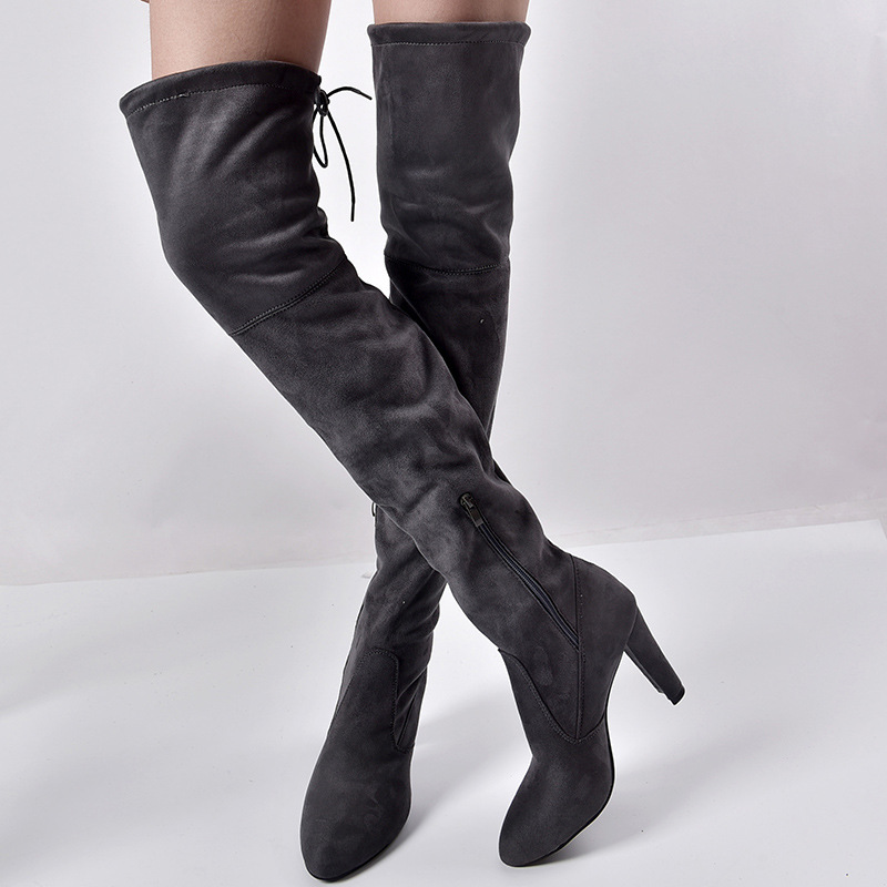 Women's Flock Leather Over The Knee Boots Size 34-43 6