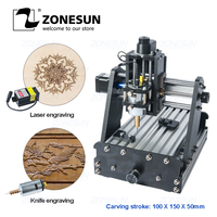 ZONESUN 3axis Mini Diy Cnc Engraving Machine PCB Milling Engraving Machine Wood Carving Machine Cnc Router Cnc Control Leather