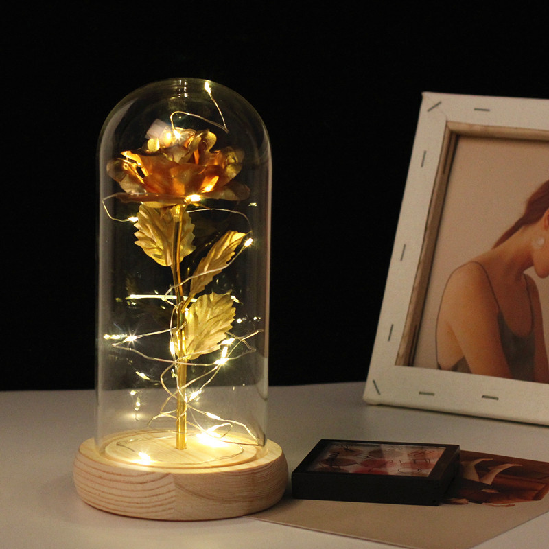 Rose In Flask Gold plated Red Rose With LED Light In Glass rose gold decor Dome For Wedding Party Mother's Day Gift freeshipping