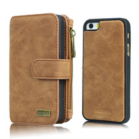 For Apple IPhone 5 5S SE Multi Functional 14 Cards Removable Wallet Case Vintage Genuine Leather