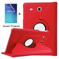For Samsung Galaxy Tab E 9.6 T560 T561 Case 360 Degree Rotating PU Leather Stand Cover + Screen Protector + stylus
