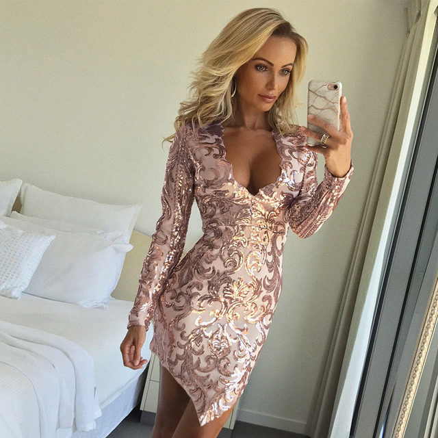 Metallic Plunge Cowl Party Dress Gold Sexy Slit V-neck long sleeve Women  winter Dresses 2018 Mini Bodycon Slim Club Dress SN-42 167365704e89