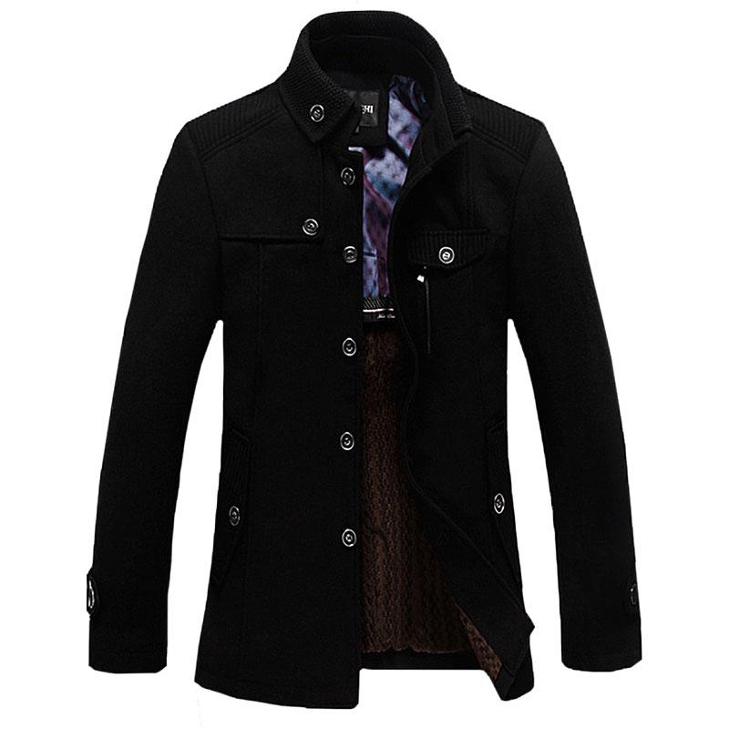 Erkek Kıyafeti'ten Yün ve Karışımları'de Kış Yün Ceket Erkekler Rahat Kalınlaşmak Stand Yaka Palto Casaco Masculino Palto erkek Rüzgarlık Palto Yün Trençkot'da  Grup 1
