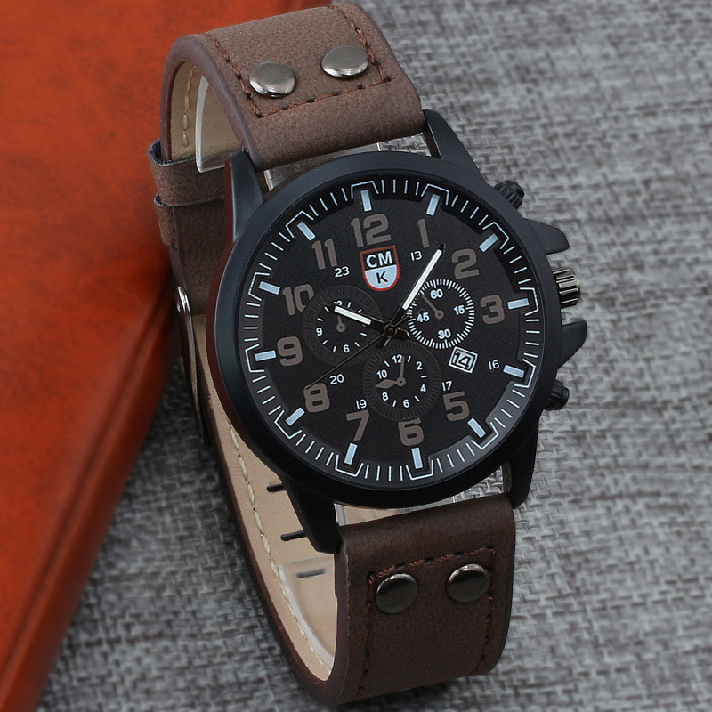 Brand 4 Color Business Men Calendar Watches Retro Fashion Leather strap Military Quartz Watch Clock Sport Casual Man Wristwatch
