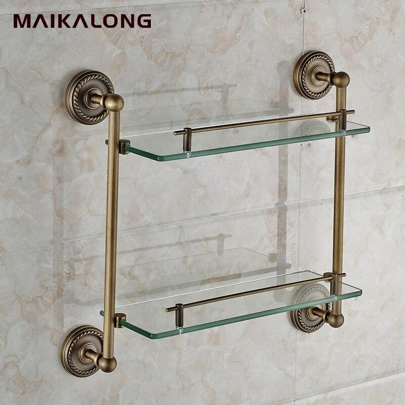 Double Bathroom Shelves,Glass Shelf,Brass Made with antique bronze ...