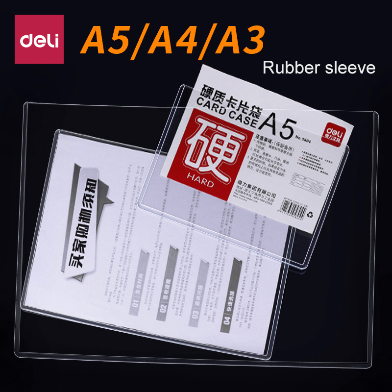 Deli 1pcs Data Bag File Protection Sleeve Clip A5/A4/A3  Hard Rubber Transparent Plastic Card Bag Presentation Folder
