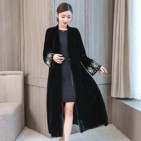 d18374b358 Elegant Cardigan Velour Dress 2019 Vintage Beaded Velvet Dress Long Sleeve  Velour Winter Dress Women Midi Dress DC296-in Dresses from Women s Clothing  on ...
