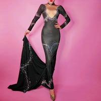 Best Quality Sexy Ladies Maxi Sheath Black Dress New Designer Women Vintage Stretch Bling Crystals Floor Length Dress Robe Femme