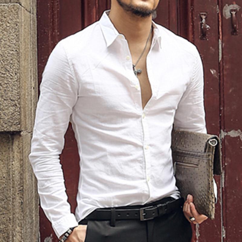 2018 nouvelles chemises hawaïennes hommes coton lin Designer marque Slim Fit homme chemises à manches longues chemises blanches pour hommes vêtements printemps