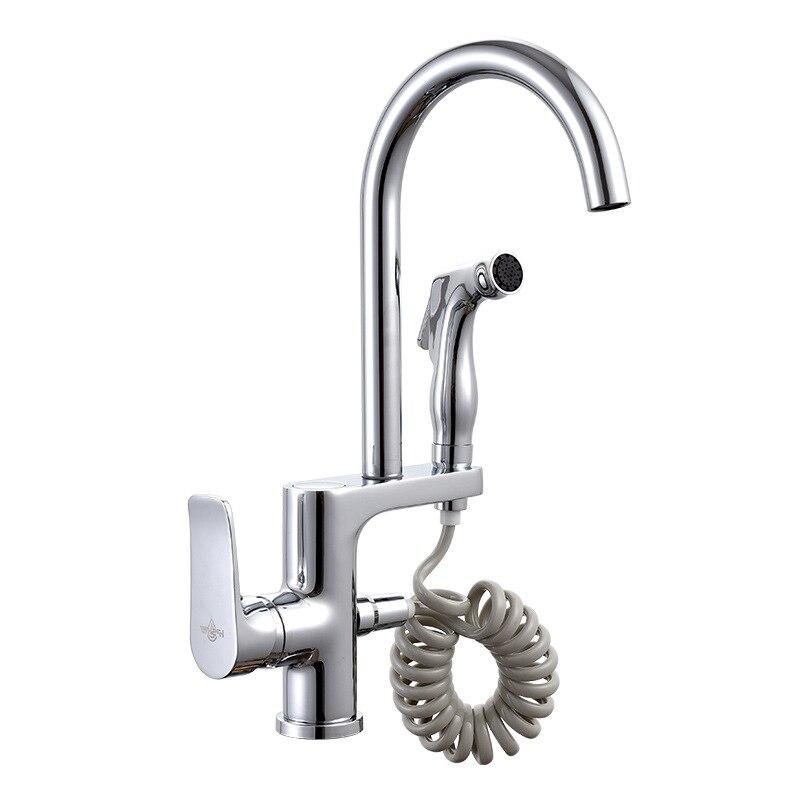 SHAI nouvelle arrivée robinet de cuisine Chrome finition double bec robinet d'évier de cuisine mélangeur de cuisine robinet d'eau chaude et froide de cuisine