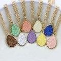 Gorgeous Teardrop Druzy Pendants Necklace for Women 9 Colors Women Jewelry Manufacturer Wholesale