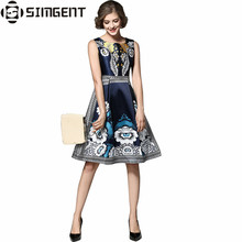 Simgent Summer Women Floral Print Sleeveless Office Casual Party Slim Bodycon A Line Dress Women's Clothing Vestidos SG612282