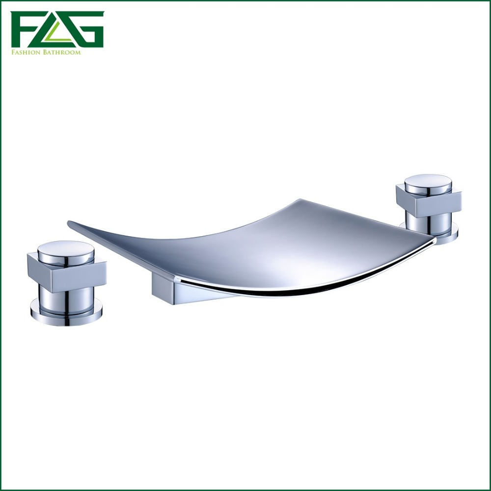FLG Free Shipping 3 Pcs Tap Waterfall Bathroom Basin Sink Bathtub Mixer Faucet Chrome Finish With Strainer Deck Mounted Taps 303 free shipping luxury three piece bathroom faucet brass chromed basin tap wall mounted waterfall faucet lt 303