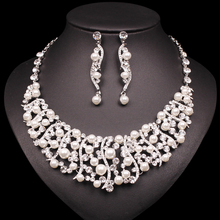 Luxury Silver Plated Necklace Earring Sets Imitation Pearl J