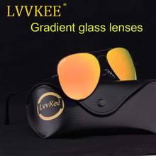 Lvvkee Логотип Роскошные Брендовые очки линзы женщин мужчин пилотные очки  62 мм градиентные линзы синего 99807d8cd5c46