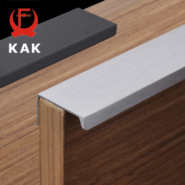 Us 7 88 30 Off Kak 5 Pieces Fashion Black Hidden Cabinet Handles Aluminum Alloy Kitchen Cupboard Pulls Drawer Knobs Furniture Room Door Handle In