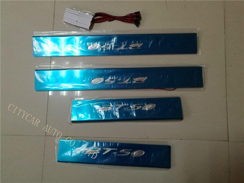 Voiture acier inoxydable Led pédale seuil de porte seuil plaque bâton cadre externe seuil 4 pièces pour MAZDA BT50 BT-50 led plaque de porte