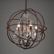 Vintage rust iron cage chandeliers E14 big style crystal lustre LED lamp 4/5/6 Lighting modern for living room bedroom bar european style white vintage luxury big led crystal chandelier lamp lustres modern e14 lights for living room bedroom