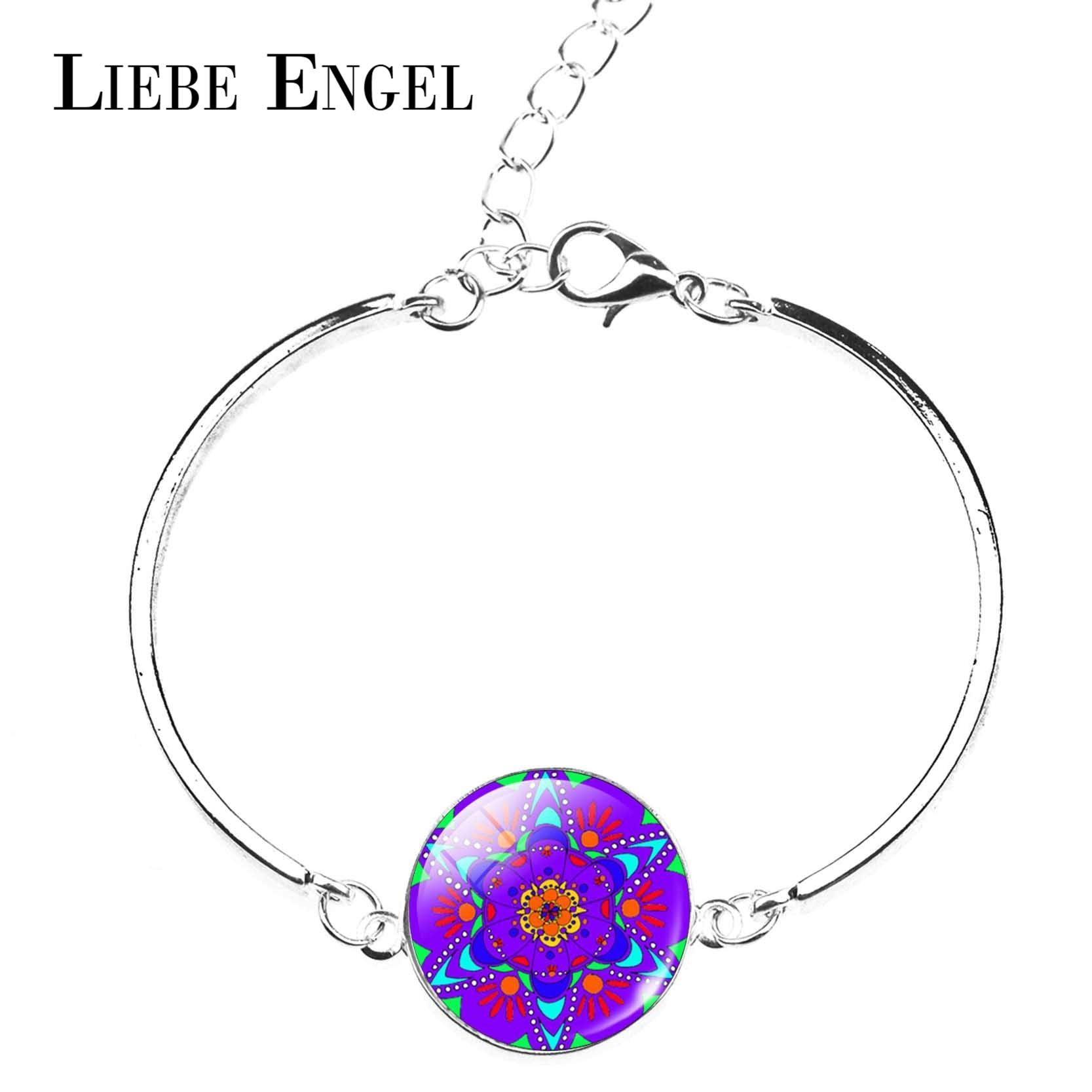 LIEBE ENGEL Mandala Bracelet Pour Femmes OM Symbole Bouddhisme Zen Verre  Cabochon Bracelets   Bangles Argent Couleur Indien Bijoux aef8e352c14