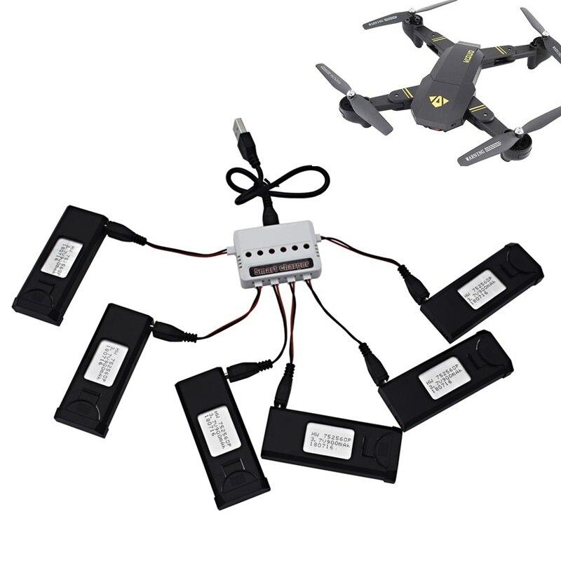 6 pcs Lipo Batterie Chargeur Ensembles Pour VISUO XS809S XS809HW XS809W XS809 3.7 v 900 mah RC Drones Quadcopter De Rechange pièces Accessoires