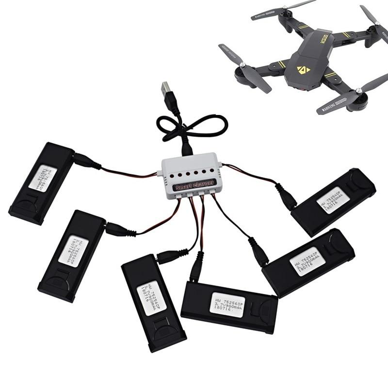 6 stücke Lipo Batterie Ladegerät Sets Für VISUO XS809S XS809HW XS809W XS809 3,7 v 900 mah RC Drohnen Quadcopter Ersatzteile teile Zubehör