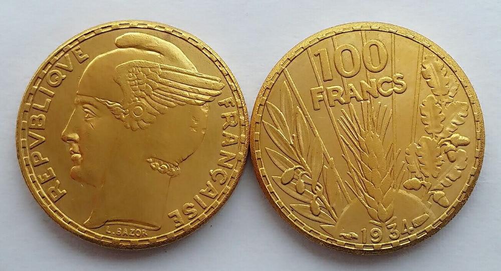 Unique 1934 France 100 Gold Franc coins