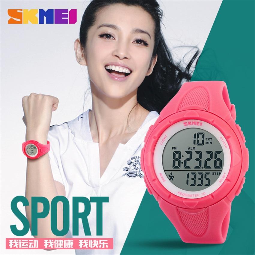 Mulheres relógios senhoras skmei 3d pedômetro led relógio digital meninas moda casual esportes ao ar livre relógios de pulso montre femme